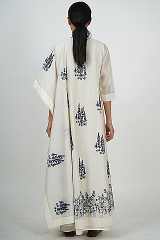 Ivory Embroidered Anarkali Set by Taika By Poonam Bhagat