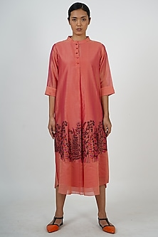 Burnt Peach Embroidered Tunic by Taika By Poonam Bhagat