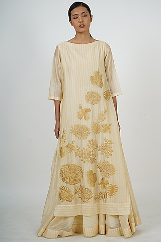 Lemon Yellow Embroidered Tunic by Taika By Poonam Bhagat
