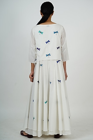 White Embroidered Maxi Dress by Taika By Poonam Bhagat