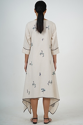 Beige & White Embroidered Tunic by Taika By Poonam Bhagat