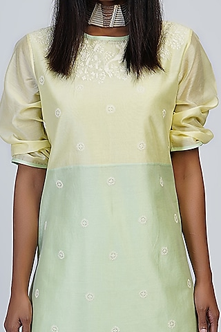 Lemon Yellow Embroidered & Color Blocked Tunic Set by Taika By Poonam Bhagat