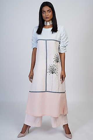Pink & Blue Color Blocked Tunic Set by Taika By Poonam Bhagat