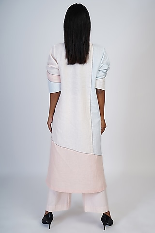 Pink & Powder Blue Color Blocked Tunic Set by Taika By Poonam Bhagat