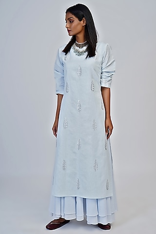 Powder Blue Embroidered Tunic by Taika By Poonam Bhagat