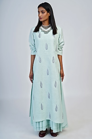 Pale Aqua Embroidered Tunic by Taika By Poonam Bhagat