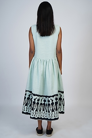 Pale Aqua Gathered Dress With Applique Work by Taika By Poonam Bhagat