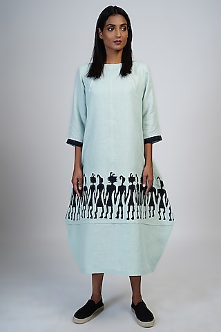 Pale Aqua Cocoon Dress With Applique Work by Taika By Poonam Bhagat