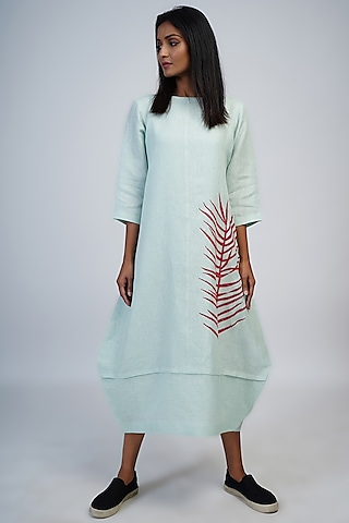 Pale Aqua Embroidered Cocoon Dress by Taika By Poonam Bhagat