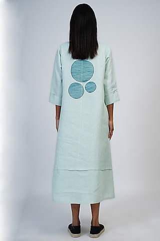Pale Aqua Embroidered Dress by Taika By Poonam Bhagat