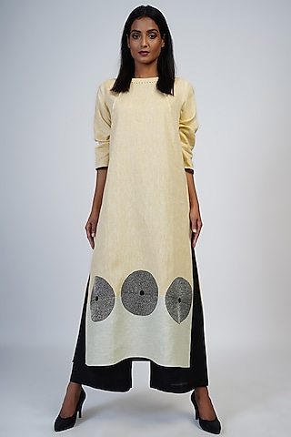 Lemon Yellow & Pale Lime Embroidered Tunic Set by Taika By Poonam Bhagat