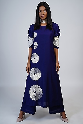 Cobalt Blue Embroidered Tunic Set by Taika By Poonam Bhagat