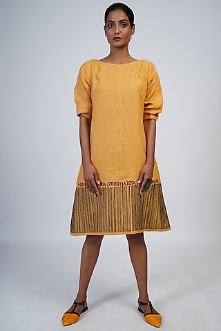 Marigold Embroidered A-Line Dress by Taika By Poonam Bhagat