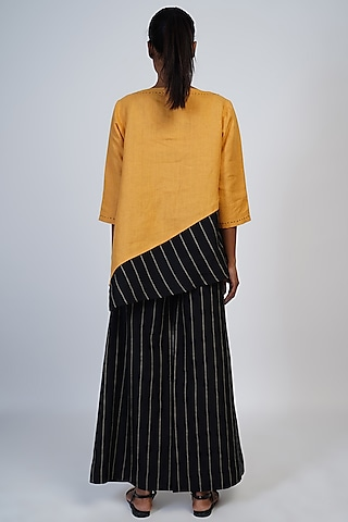 Marigold Embroidered Asymmetric Top by Taika By Poonam Bhagat