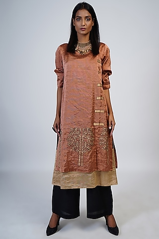 Copper & Black Embroidered Tunic Set by Taika By Poonam Bhagat
