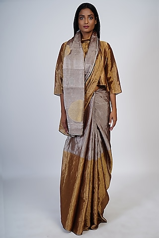 Gold & Silver Embroidered Saree Set by Taika By Poonam Bhagat