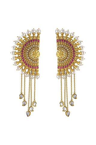 Gold Finish Ear Cuffs With Pearls by Tribe Amrapali