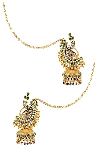 Gold Finish Peacock Jhumka Earrings by Tribe Amrapali
