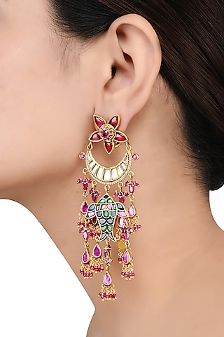 Gold Finish Floral Earrings by Tribe Amrapali