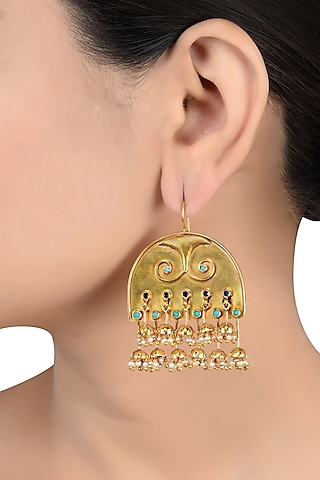 Gold Finish Pearl & Glass Earrings by Tribe Amrapali