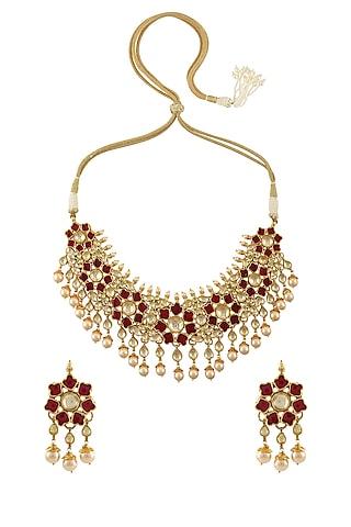 Gld Finish Lotus Necklace Set by Tribe Amrapali