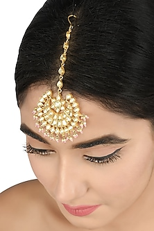 Gold Plated Glass & Pearls Maangtikka by Tribe Amrapali