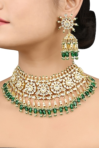 Gold Plated Turquoise Stones Collar Necklace by Tribe Amrapali