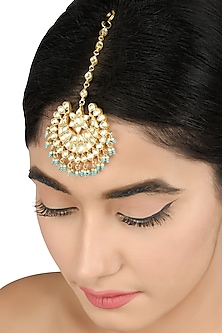 Gold Plated Pearls & Glass Maangtikka by Tribe Amrapali
