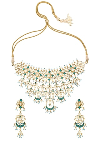 Gold Plated Pearls Necklace Set by Tribe Amrapali