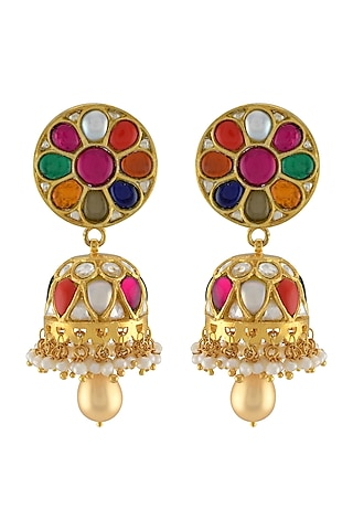 Gold Plated Glass & Pearl Dangler Earrings by Tribe Amrapali