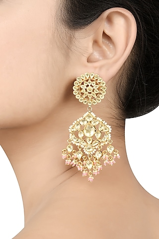 Gold Plated Glass Dangler Earrings by Tribe Amrapali
