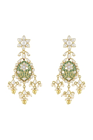 Gold Plated Pearl & Glass Earrings by Tribe Amrapali