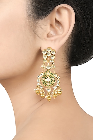 Gold Plated Pearl Earrings by Tribe Amrapali