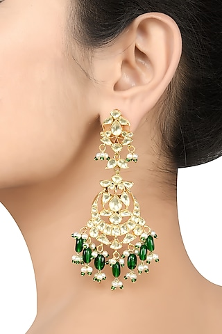 Gold Plated Glass & Pearl Earrings by Tribe Amrapali