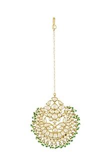 Gold Plated Pearls Maang Tikka by Tribe Amrapali
