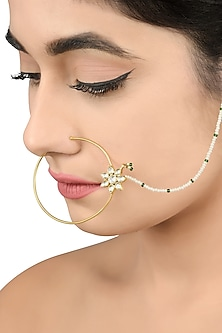Gold Plated Glass Nose Pin by Tribe Amrapali