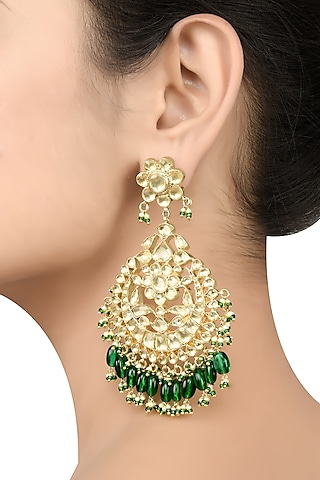 Gold Plated Enameled Pearl Earrings by Tribe Amrapali