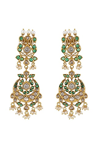 Gold Plated Pearls Dangler Earrings by Tribe Amrapali