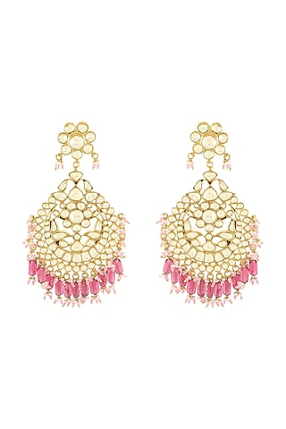 Gold Plated Glass & Pearls Earrings by Tribe Amrapali
