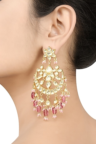 Gold Plated Earrings With Pearls by Tribe Amrapali