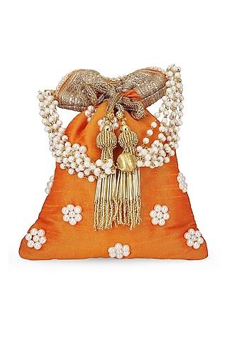 Orange Handcrafted & Embellished Potli by Tarini Nirula