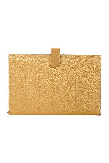 Peach & Gold Handcrafted Brocade Notebook Cutch by Tarini Nirula