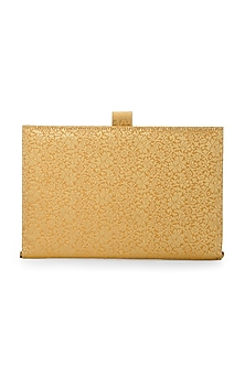 Peach & Gold Handcrafted Brocade Notebook Cutch by Tarini Nirula