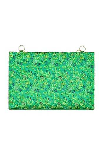 Green Embroidered Brocade Clutch by Tarini Nirula
