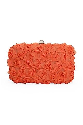 Orange 3D Rose Clutch by Tarini Nirula