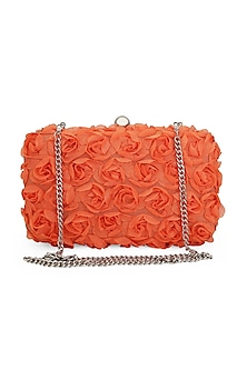 Orange 3D Rose Clutch by Tarini Nirula