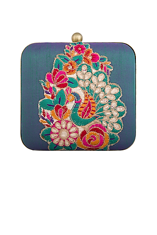 Blue Thread Embroidered Clutch by Tarini Nirula