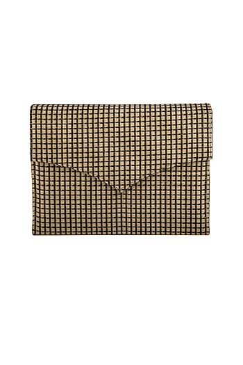Black & Gold Checkered Clutch by Tarini Nirula