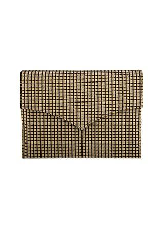 Black & Gold Checkered Clutch by Tarini Nirula