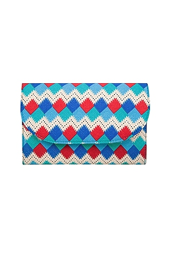 Blue Phulkari Printed Clutch by Tarini Nirula